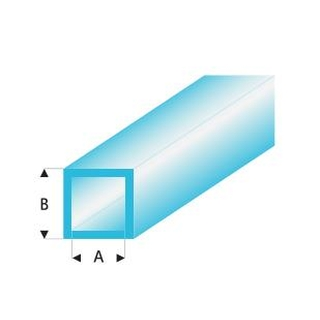MAQUETT Vierkant-buis tr. blauw 2 x 3mm 0.33mtr (359) (1mtr) [RA437-53/3]