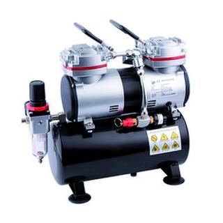 FENGDA 2 cilinder airbrush mini compressor met luchttank [FE-AS-196]